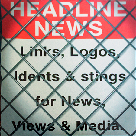 Headline News album cover, key words behind chainlink fence on white background