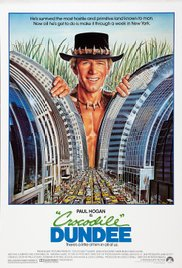 Crocodile Dundee DVD cover with actor Paul Hogan in futurist urban landscape with grasses behind